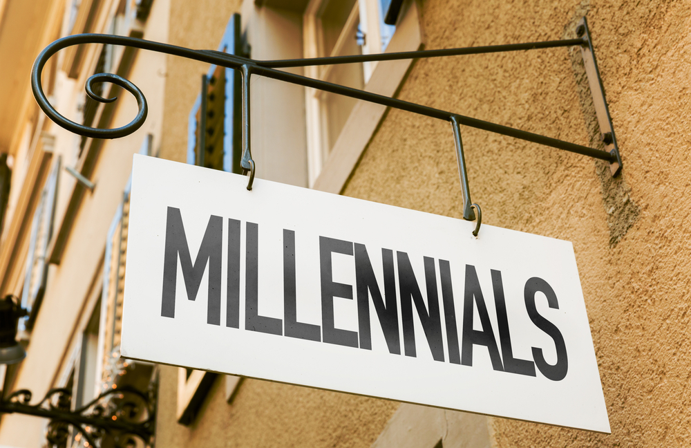 Millennials sign in a conceptual image
